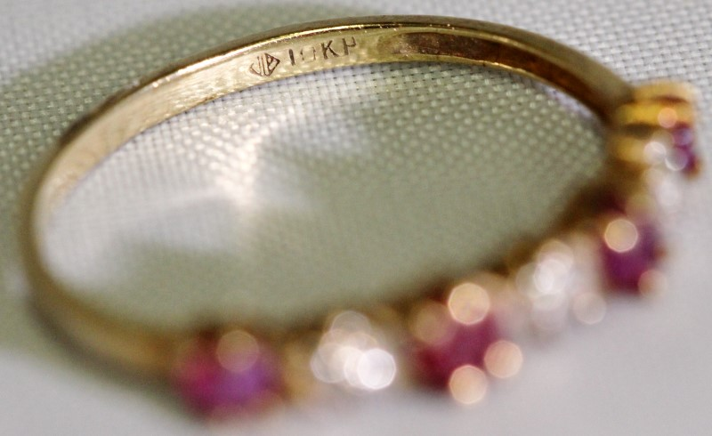10K Yellow Gold Round Ruby & Diamond Band Stacker Ring SIZE 5.75