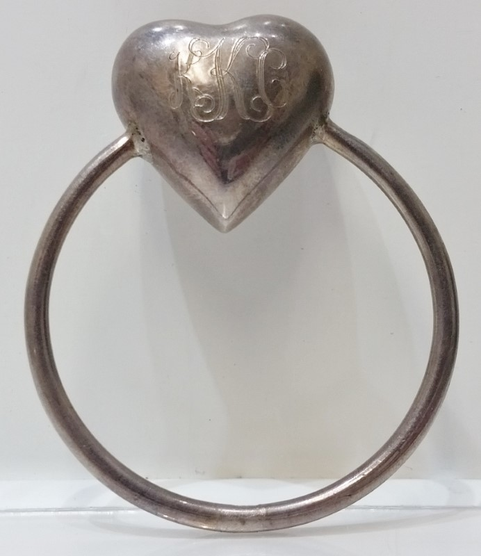 Vintage Antique Sterling Silver Circular Heart Shaped Baby Rattle Teething Ring