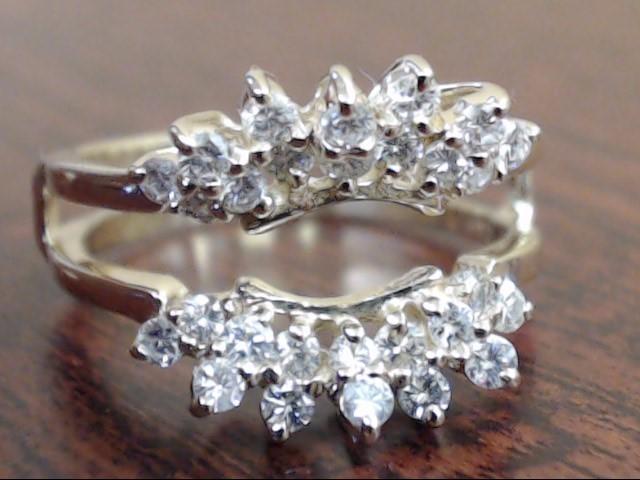 DIAMOND 0.84tcw ENHANCER JACKET GUARD RING 14k GOLD 4.7g  SIZE 8.25