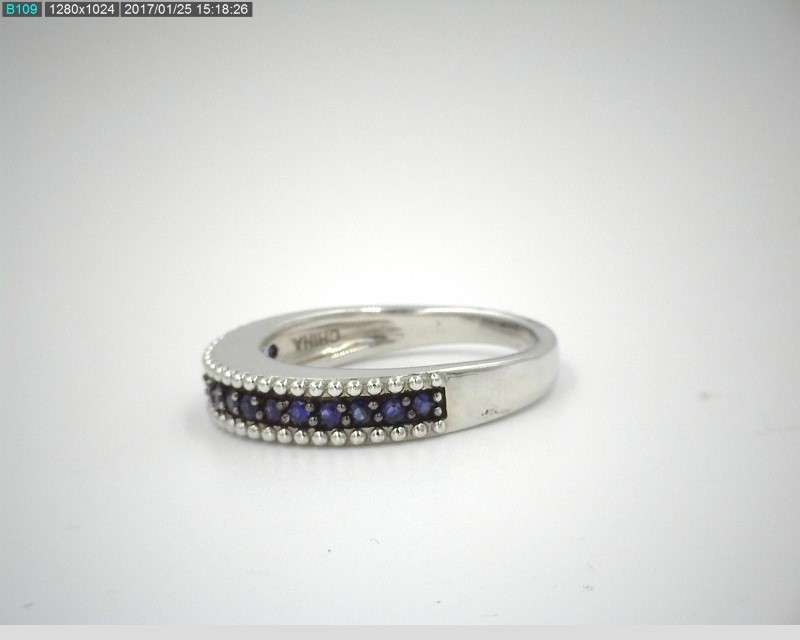 LADY'S BLUE SAPPHIRE .40CTW STERLING SILVER BAND 5.2G SZ.8