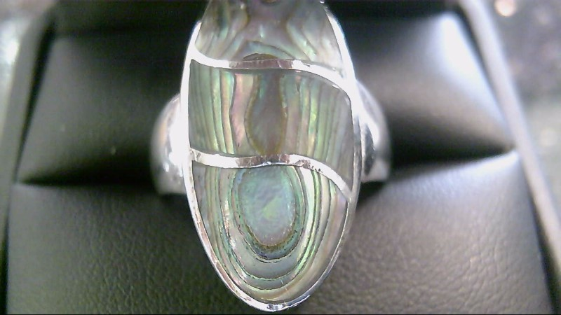 Lady's Abalone Silver Ring 925 Silver 6.44g