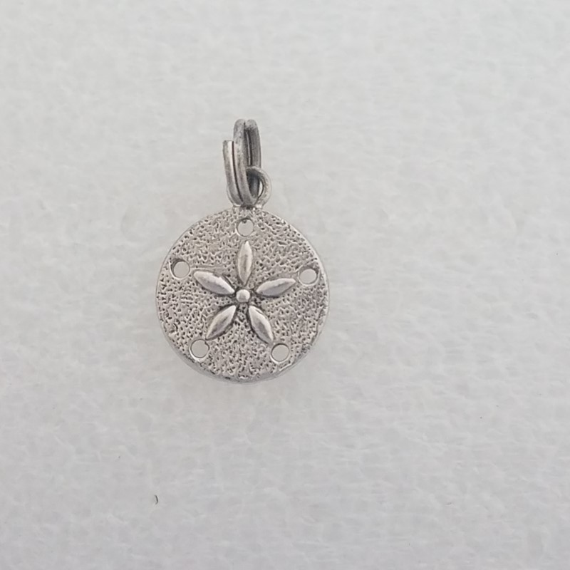 Sterling Silver Open Work Textured Reversible Sand Dollar Charm Pendant