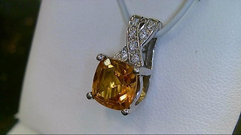 18K White Gold Cusion Cut Citrine & Diamond Pendant