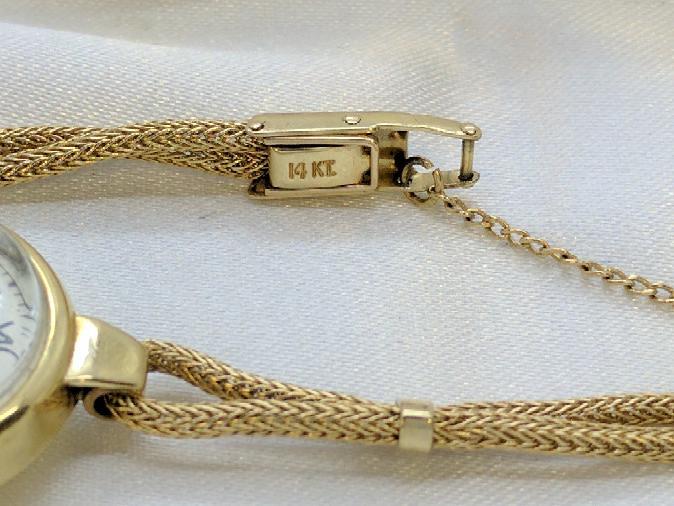 Art Deco Ladies Omega Watch 14k Dual Wheat Bracelet