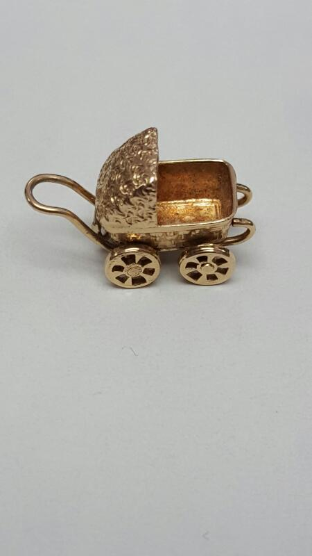 14K Yellow Gold Victorian Style Baby Carriage Buggy Dangle Charm