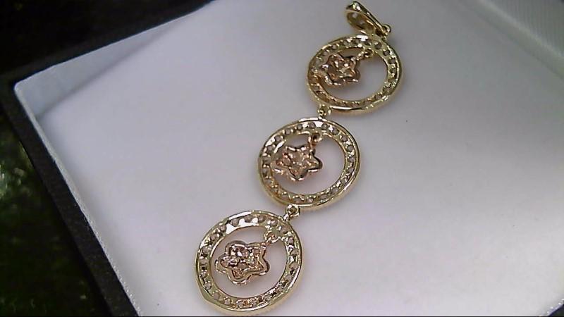 Cubic Zirconia 3 Circle Dangle 18K Yellow Gold Pendant