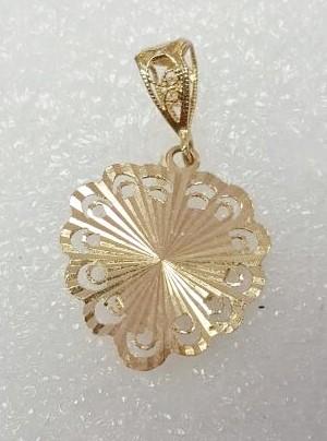 14K Yellow Gold Intricate Open Work Filigree Diamond Cut Sunburst Heart Pendant