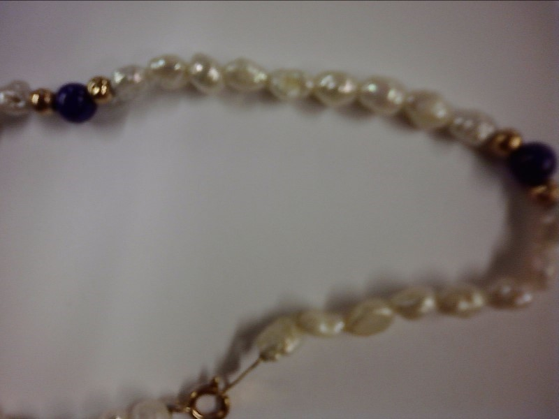 BRACELET JEWELRY JEWELRY, 14KT; 9 GOLD BALLS AND 3 BLUE BALLS AND FRESH WATER PE