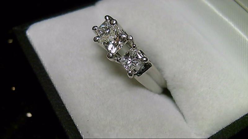 Lady's Diamond Engagement Ring 3 Diamonds 1.40 Carat T.W. 14K White Gold 5.8g