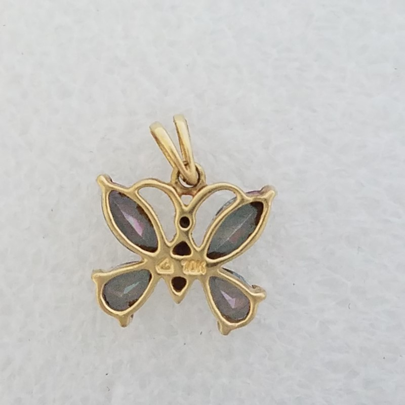 Adorable 10K Yellow Gold Pear & Marquise Mystic Topaz Butterfly Pendant