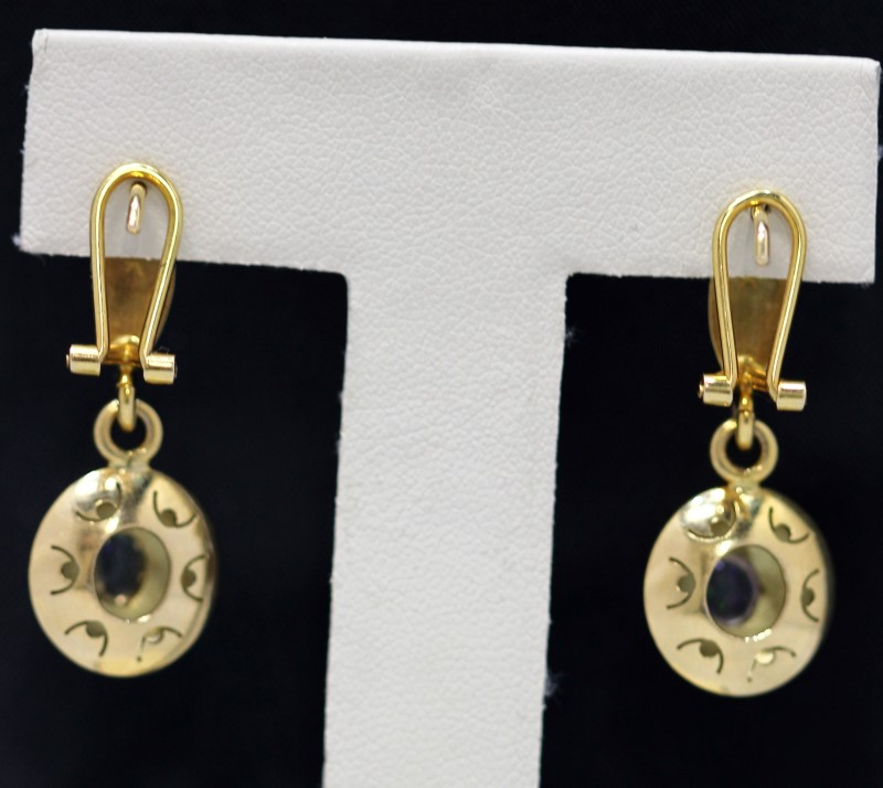 White Stone Gold-Stone Earrings 14K Yellow Gold 6.7g