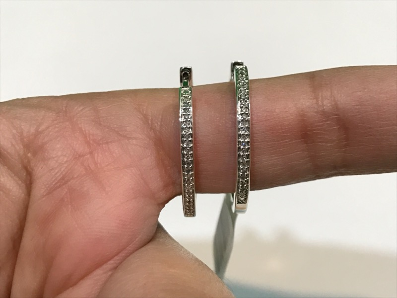 """Silver-Diamond 1"""" Hoop Earrings 48 Diamonds .24 CTW 925 Silver 5.6g"""