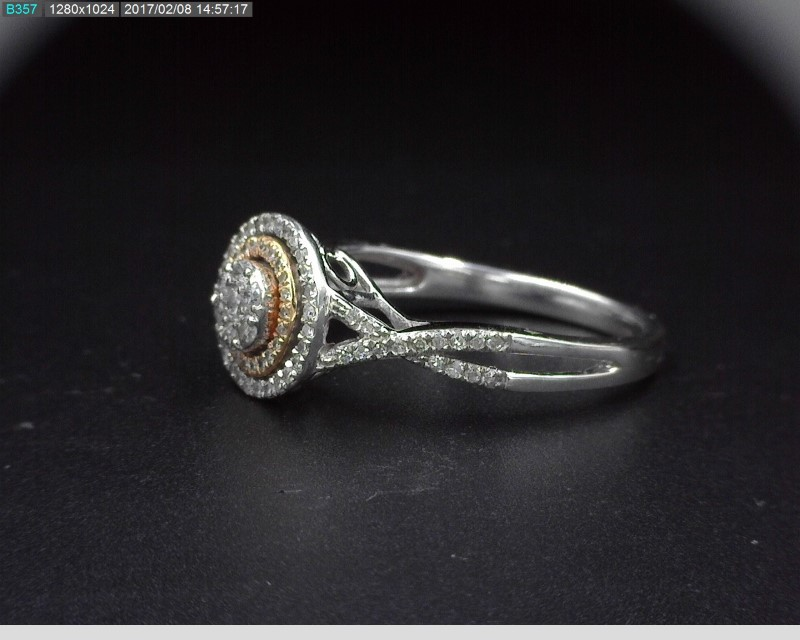 LADY'S DIAMOND HALO CLUSTER RING APX1.08C.T.W 10K WHITE/ROSE GOLD SZ.7
