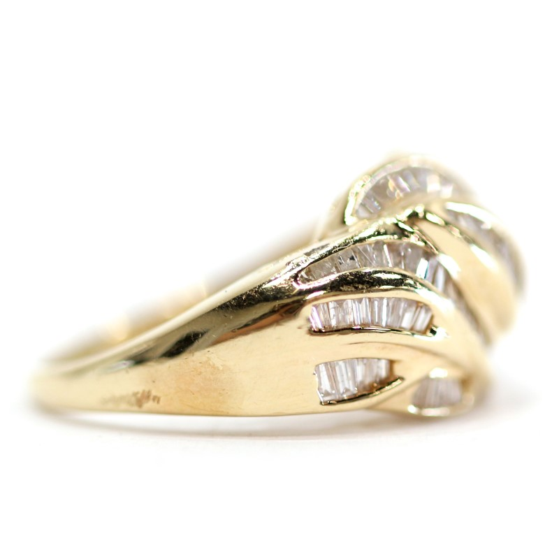 14K Yellow Gold Baguette Cut Diamond Cluster Statement Ring Size 6.75