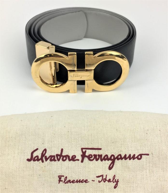 SALVATORE FERRAGAMO GANCINI REVERSIBLE LEATHER BELT SZ 36