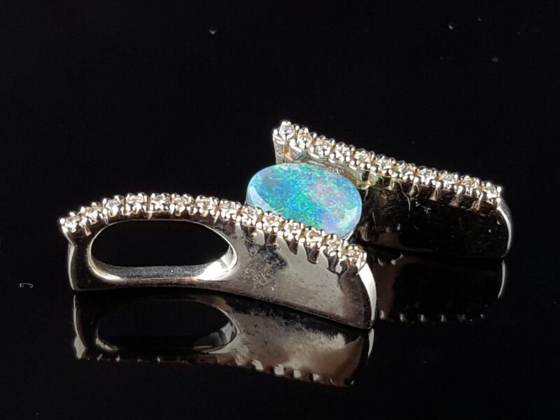 Gold Opal & Diamonds Pendant 25 Diamonds .18 Carat T.W. 14K White Gold 6.4g