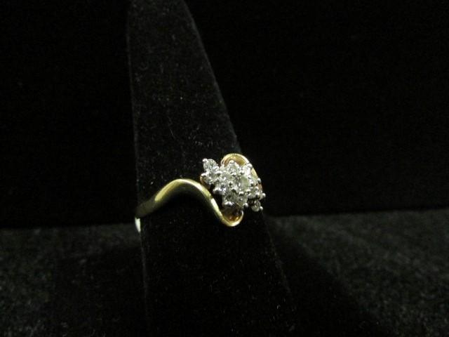 Lady's Diamond Cluster Ring 13 Diamonds .41 Carat T.W. 14K Yellow Gold 3.4g