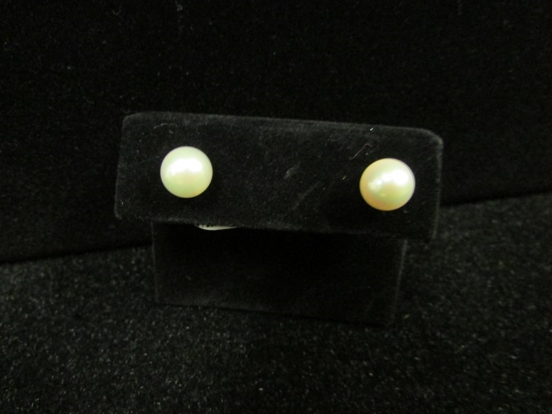 Synthetic Pearl Gold-Stone Earrings 14K Yellow Gold 1.4g