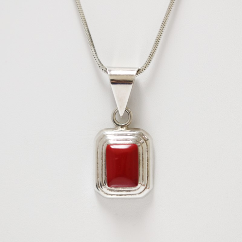"""34"""" Sterling Silver Cushion Cut Red Coral Pendant Necklace"""