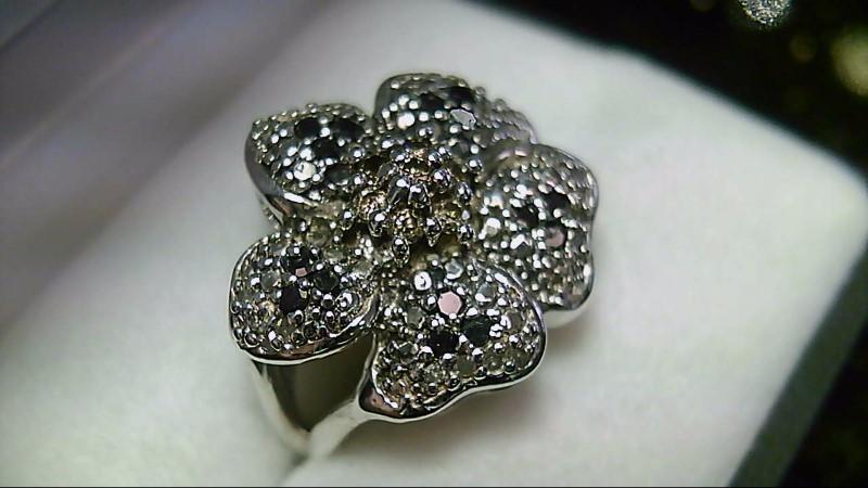 Chocolate Black & White Diamond Flower 925 Silver Ring Sz 7