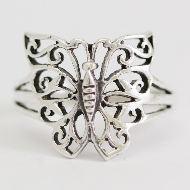 Sterling Silver Filigree Butterfly Cutout Ring Size 7