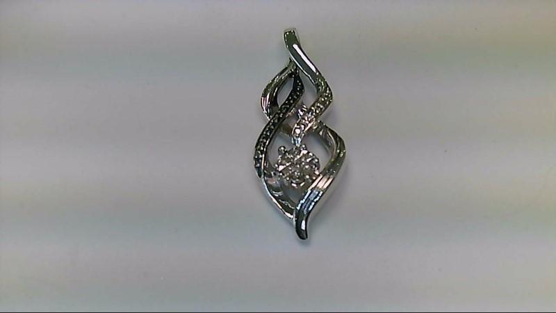 Silver-Diamond Pendant 9 Diamonds .09 Carat T.W. 925 Silver 3.2g