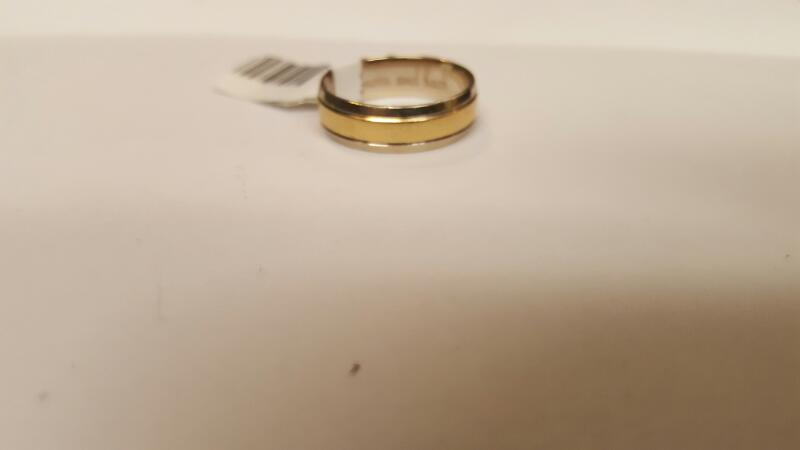 Gent's Gold Wedding Band 10K 2 Tone Gold 4.28g Size:8