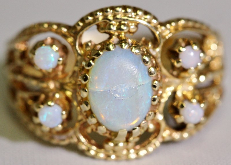 14K Yellow Gold Vintage Inspired Opal Cluster Milgrain Open Work Band Ring sz 8