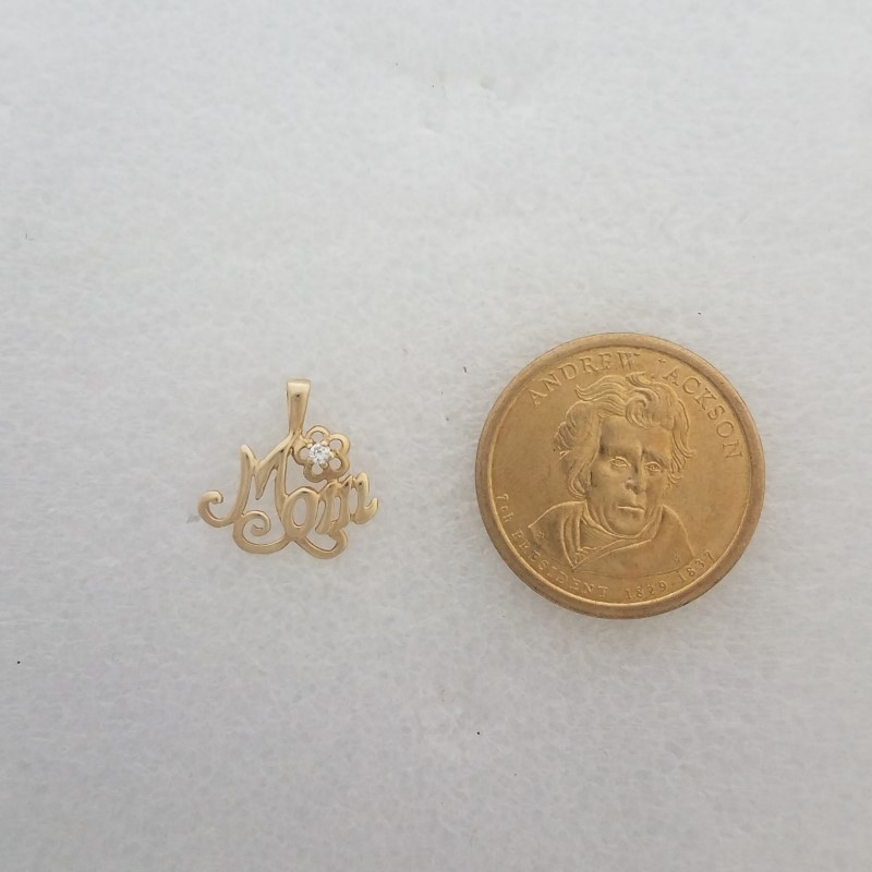 10K Yellow Gold Adorable Cursive Open-Work MOM & Flower CZ Pendant