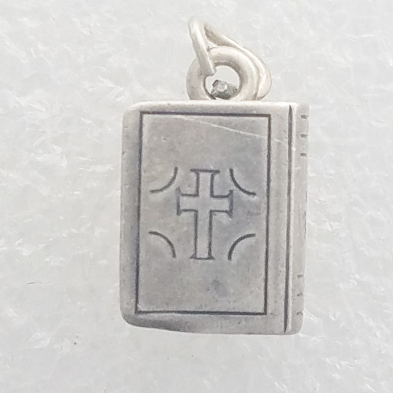 Vintage Beau Sterling Silver 3D Holy Bible Book Cross Charm/Pendant