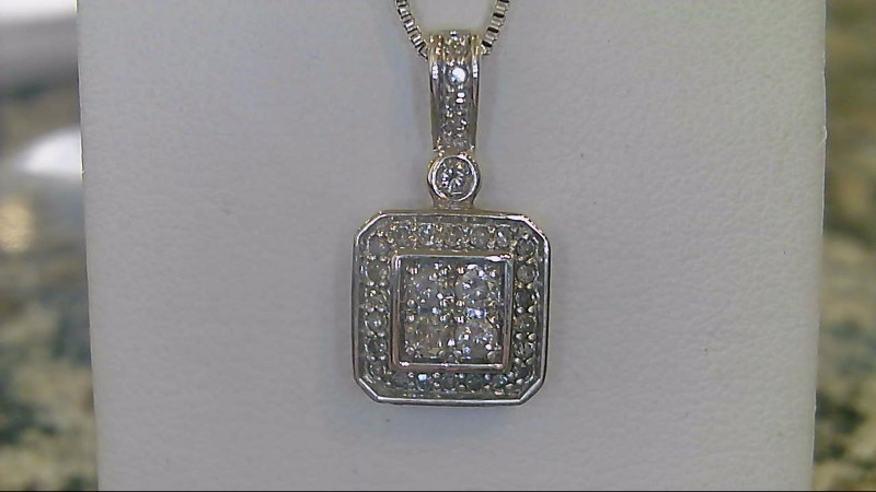 Diamond Necklace 29 Diamonds .39 Carat T.W. 925 Silver 3.5g