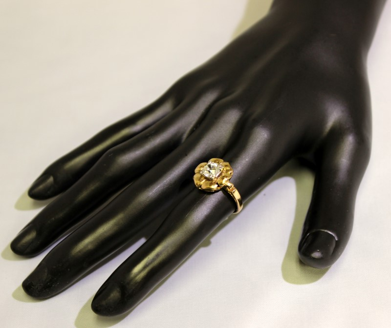 14K Yellow Gold Vintage Inspired .85ct Mine Cut Diamond Polished Flower Ring 6.2
