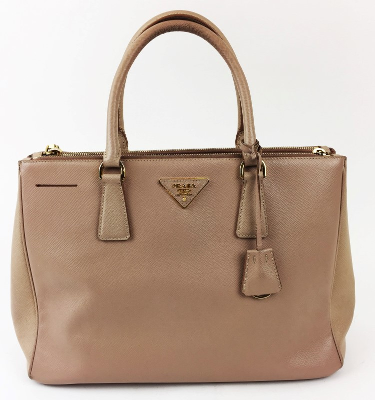 Prada Saffiano Lux Leather Double Zip Large Tote Bag
