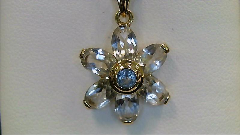 Blue Topaz & CZ 14K Yellow Gold Star Pendant