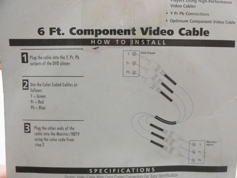 RCA VHC61 6' Component Video Cable