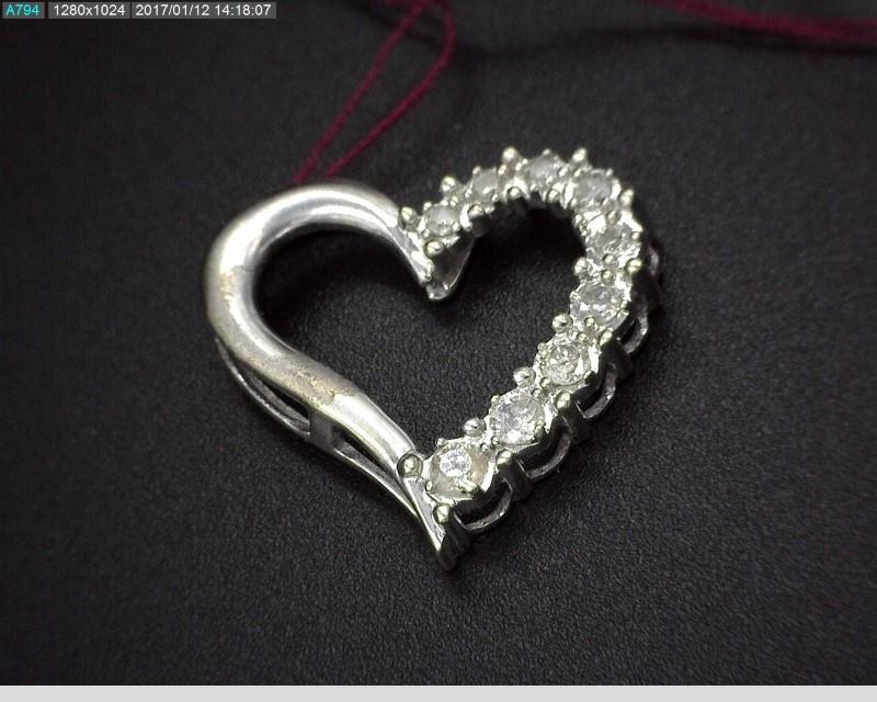 10K WG APX0.18C.T.W DIAMOND HEART PENDANT 1.1G
