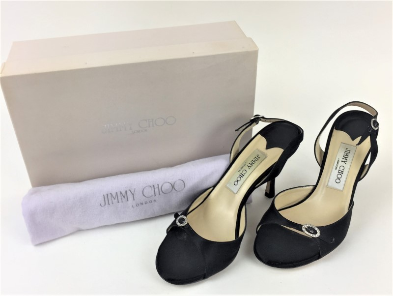 JIMMY CHOO BLACK SATIN STRAPPY SLINGBACKS HEELS