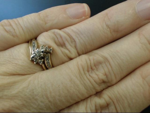 MARQUISE NATURAL DIAMOND .27 CTW WEDDING SET RING BAND 10K GOLD SZ 6