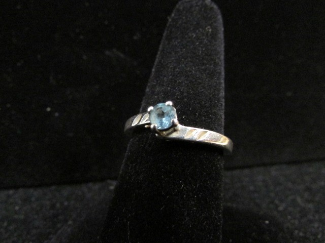 Blue Stone Lady's Silver & Stone Ring 925 Silver 2.5g Size:7