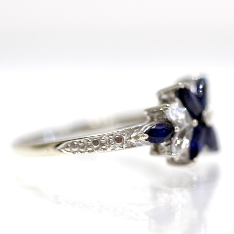 10K White Gold Floral Marquise Blue & White Stone Ring Size 7.25