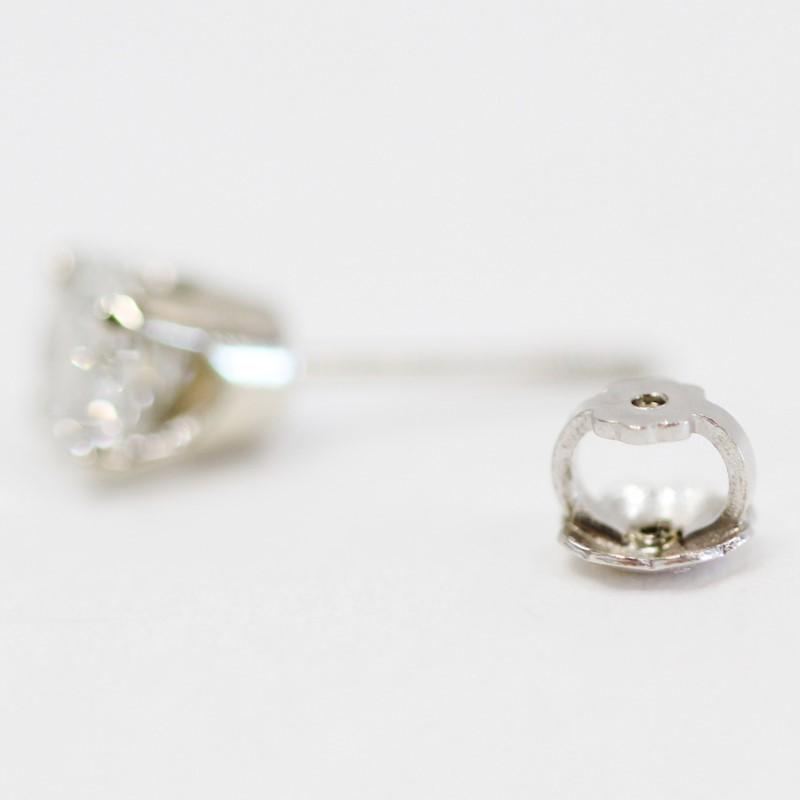 10K White Gold Round Brilliant Diamond Screw Back Earrings