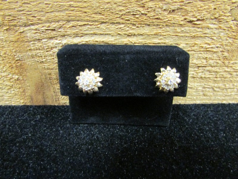 Gold-Diamond Earrings 18 Diamonds .18 Carat T.W. 10K Yellow Gold 1.9g