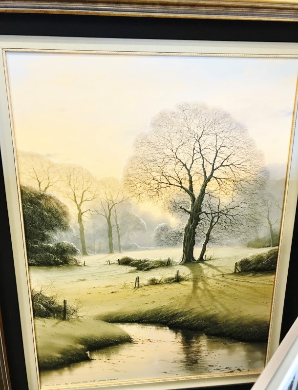 MICHAEL JOHN HILL Painting SNOW IS DUE LONDON ENGLAND
