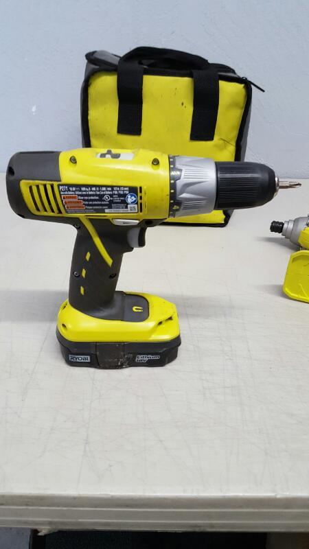 "Ryobi 18V ONE+ 1/2"" Cordless Drill P271 & Impact Driver P234G Set"