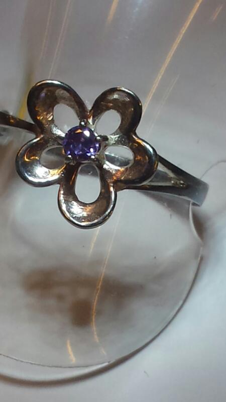 RING JEWELRY JEWELRY, 1.42 DWT; RING  FLOWER W/ AMYTHEST