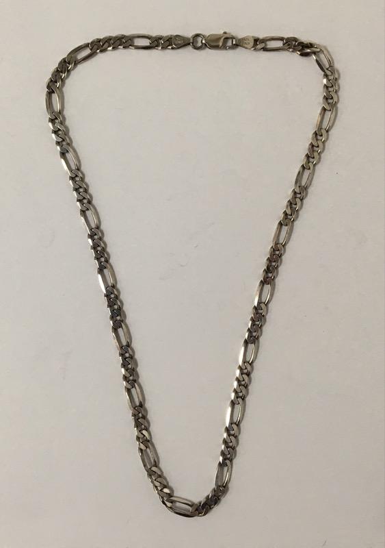 """18"""" Silver Figaro Chain 925 Silver 21.9g"""