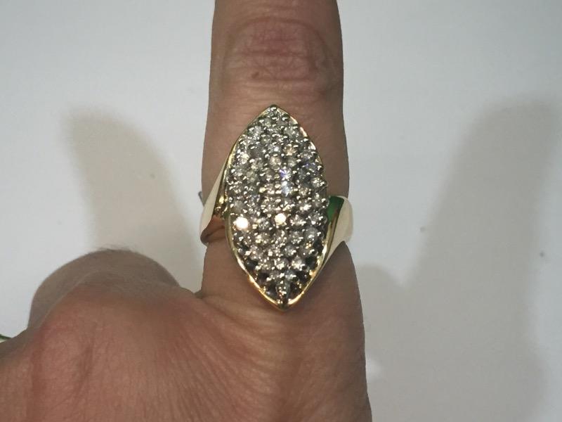 Lady's Diamond Cluster Ring 56 Diamonds 1.20 Carat T.W. 14K Yellow Gold 6.5g
