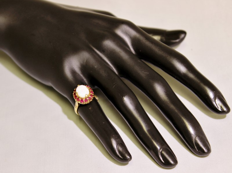 14K Yellow Gold Cathedral Set Open Work Filigree Opal & Ruby Halo Ring sz 4