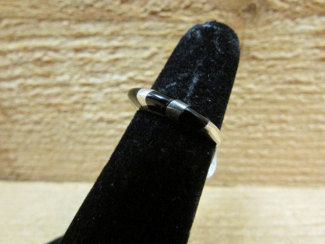 Black Stone Lady's Silver & Stone Ring 925 Silver 1.8g Size:4.5