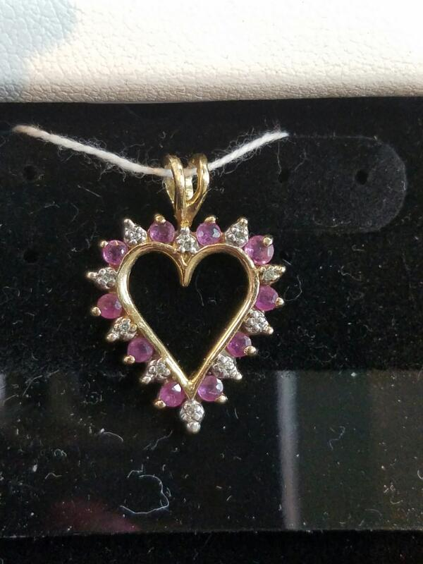 Purple Stone Heart Gold-Diamond & Stone Pendant 10 Diamonds .10 Carat T.W.